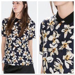 ZARA Peter Pan collar floral boxy blouse, M